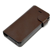 【iPhone5s/5 ケース】Leather Battery Case (ダークブラウン)
