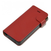 【iPhone5s/5 ケース】Leather Battery Case (レッド)