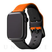 "【AppleWatch Series5/4/3(40/38mm) バンド】""NEON"" Italian Genuine Leather Watchband (Neon Orange/Black)"
