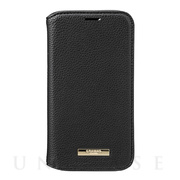 "【iPhone12 mini ケース】""Shrink"" PU Leather Book Case (Black)"
