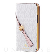 【iPhone12 mini ケース】FOLIO CASE SIGNATURE with TASSEL CHARM (Bright White)