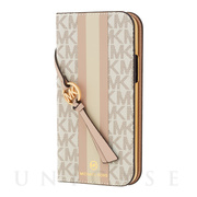 【iPhone12 mini ケース】FOLIO CASE STRIPE with TASSEL CHARM (Vanilla)