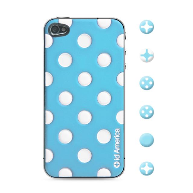 【iPhone4S/4 スキンシール】CUSHI DOT BLUE