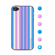 【iPhone4S/4 スキンシール】CUSHI STRIPES BLUE
