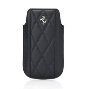 【iPhone4S/4/3G/3GS ケース】Ferrari GT Leather Modena Sleeve Case for iPhone ブラック