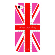 【iPhone4/4S ケース】Hot Pink Union Jack (Crystal)