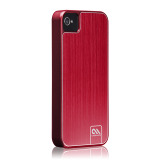 Case-Mate iPhone 4S / 4 Barely There Case Brushed Aluminum, Red