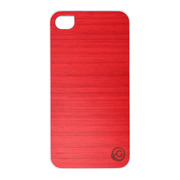 【iPhone4S/4 ケース】Real wood case Vivid Poroporo Red White