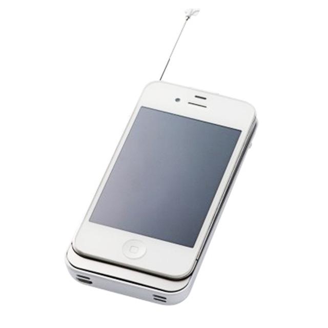 【iPhone4S/4 ケース】ワンセグチューナー/ケースタイプ/バッテリー1,500mAh ホワイト