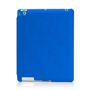 【iPad(第3世代/第4世代) iPad2 ケース】LeatherLook with Front cover for iPad (第3世代)/iPad 2 ブルー