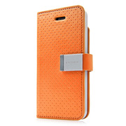 【iPhoneSE/5s/5 ケース】Folder Case Sider Polka Orange/Grey