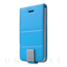 【iPhoneSE/5s/5 ケース】Folder Case Upper Polka Blue/Grey