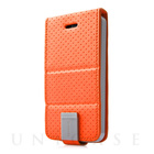 【iPhoneSE/5s/5 ケース】Folder Case Upper Polka Orange/Grey