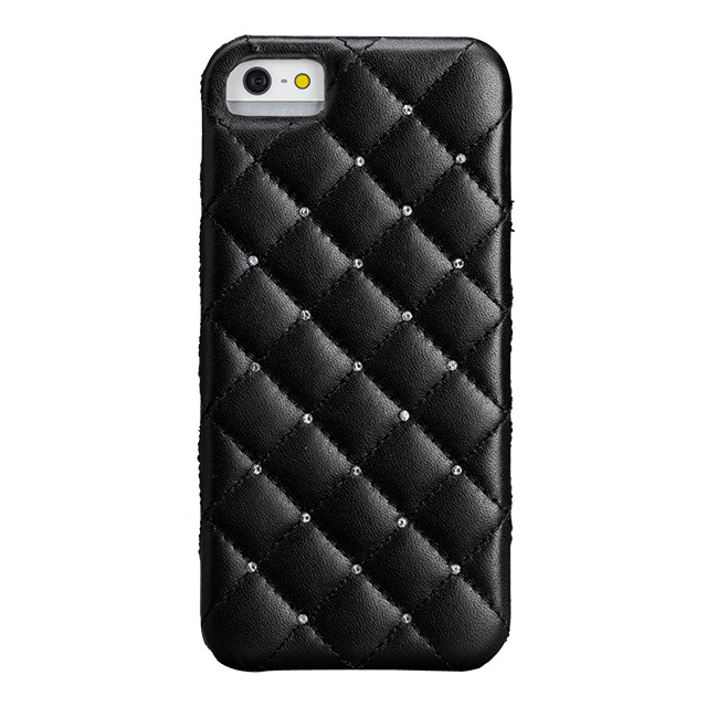 【iPhoneSE/5s/5 ケース】Madison Black Quilted (With Swarovski Crystals)