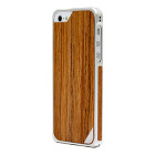 【iPhoneSE/5s/5 ケース】Alloy X Wood (Silver×Teak)【バンパー】