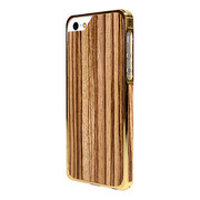 【iPhoneSE/5s/5 ケース】Alloy X Wood (24K Yellow Gold×Teak)