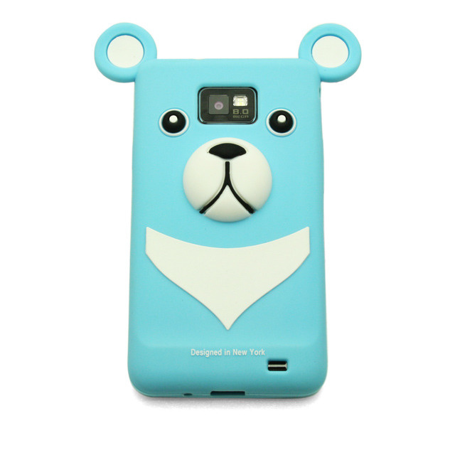 【GALAXY S2 ケース】Full Protection Silicon Bear, Water Blue