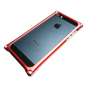 【iPhone5s/5 ケース】Smart HYBRID (Silver2×Red)