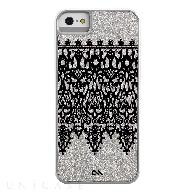 【iPhoneSE/5s/5 ケース】Glam Print Lace Border Silver Glitter