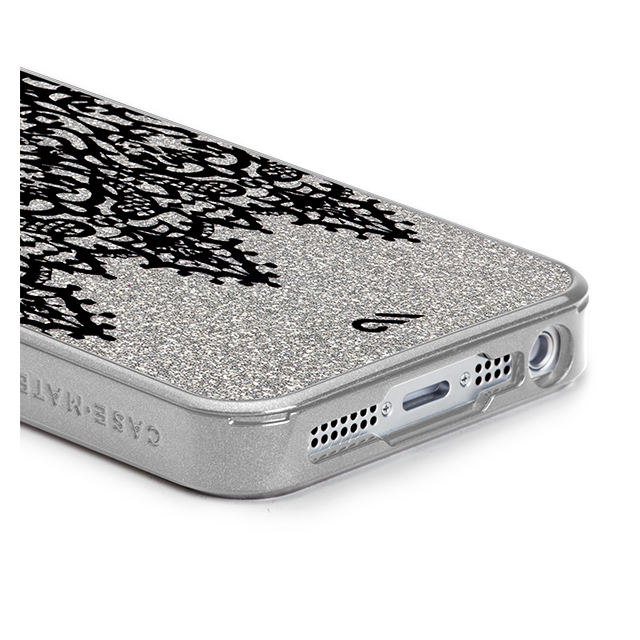 【iPhoneSE/5s/5 ケース】Glam Print Lace Border Silver Glitterサブ画像