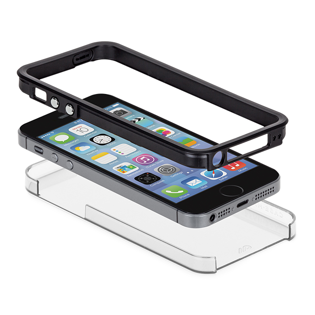 【iPhoneSE(第1世代)/5s/5 ケース】Hybrid Tough Naked Case (Clear/Black)サブ画像