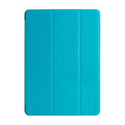 【iPad(9.7inch)(第5世代/第6世代)/iPad Air(第1世代) ケース】LeatherLook SHELL with Front cover Sky Blue
