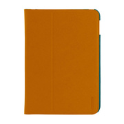 【iPad(9.7inch)(第5世代/第6世代)/iPad Air(第1世代) ケース】LeatherLook Classic with Front cover Camel Brown/Marine Blue