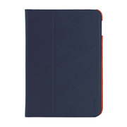 【iPad(9.7inch)(第5世代/第6世代)/iPad Air(第1世代) ケース】LeatherLook Classic with Front cover Navy Blue/Valencia Orange