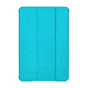 【iPad mini2/1 ケース】LeatherLook SHELL with Front cover for iPad mini パウダーブルー
