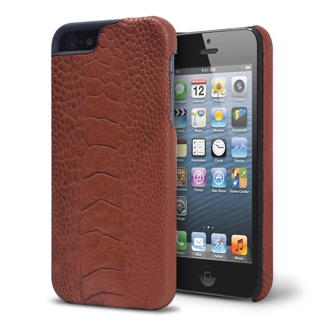 9d4c8c193197 【iPhone5s/5 ケース】動物皮モンスターケース Monster-Ostrich ダークブラウンサブ ...