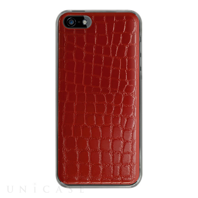 【iPhoneSE/5s/5 ケース】IC-COVER Leather (レザー調レッド)