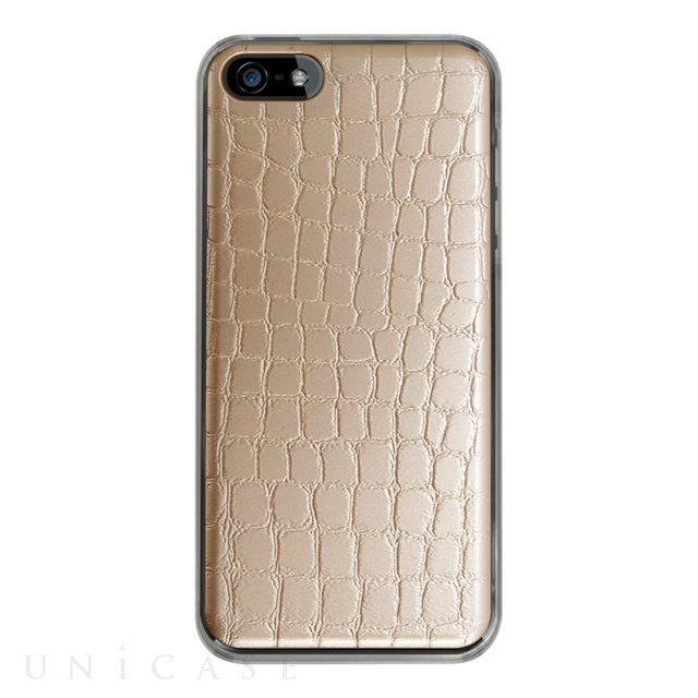 【iPhoneSE/5s/5 ケース】IC-COVER Leather (レザー調ゴールド)