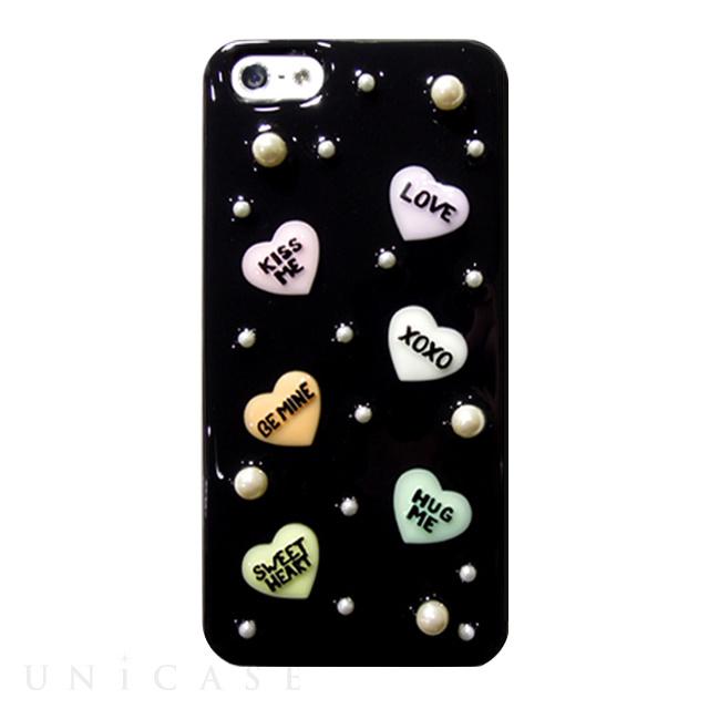 【iPhone5s/5 ケース】candy heart ブラックパールN