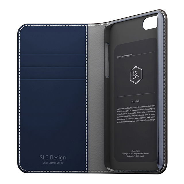 【iPhoneSE/5s/5 ケース】D5 Edition Calf Skin Leather Diary (ネイビー)サブ画像