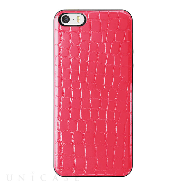 【iPhoneSE/5s/5 ケース】IC-COVER Slim Leather (レザー調ピンク)