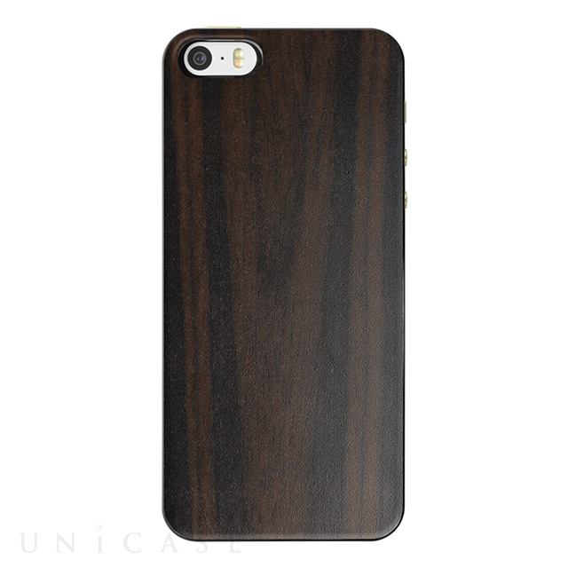 【iPhoneSE/5s/5 ケース】IC-COVER Slim Wood (木目調エボニー)