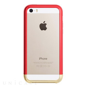 【iPhoneSE/5s/5 ケース】Duralumin Bumper (Red×Gold)