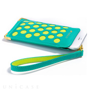 【iPhone6s Plus/6 Plus ケース】Premium Leather Dotzz Pouch Strap (Blue/Green)