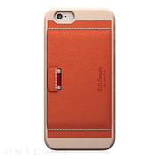 【iPhone6 ケース】D6 Italian Minerva Box Leather Card Pocket Bar (オレンジ)