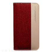 【iPhone6s Plus/6 Plus ケース】Fashion Wallet Twilled Denim Red