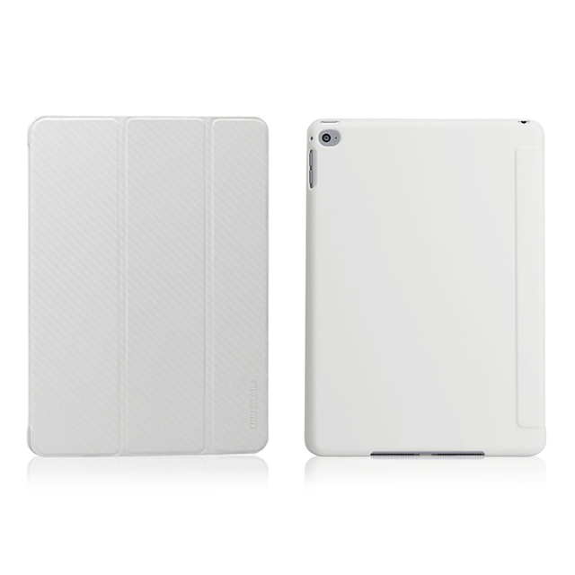 【iPad Air2 ケース】CarbonLook SHELL with Front cover (カーボンホワイト)