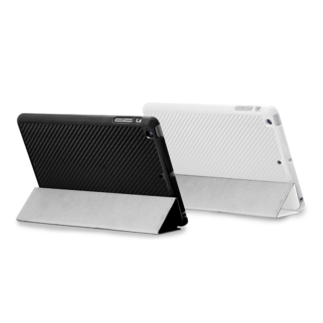 【iPad mini3/2/1 ケース】CarbonLook SHELL with Front cover for iPad mini カーボンホワイトサブ画像