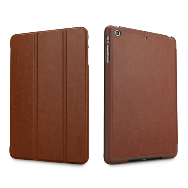 【iPad mini3/2/1 ケース】LeatherLook SHELL with Front cover for iPad mini チョコレートブラウン