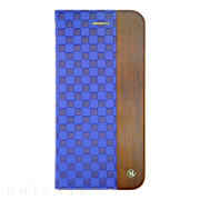 【iPhone6s/6 ケース】Wooden Case with Checker Emboss Blue