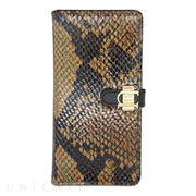 【iPhone6s/6 ケース】Luxe Exotic Slider Leather Wallet Snake (Tan)