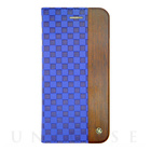 【iPhone6s Plus/6 Plus ケース】Wooden Case with Checker Emboss Blue