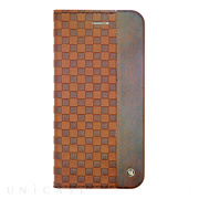 【iPhone6s Plus/6 Plus ケース】Wooden Case with Checker Emboss Brown