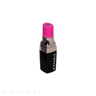 【バッテリー】リップスティック型モバイル充電器 (ブラック/パープル)