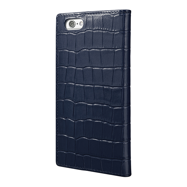 【iPhone6s/6 ケース】Croco Patterned Full Leather Case (Navy)サブ画像