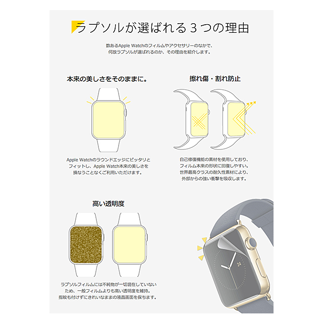 【AppleWatch Series3/2/1(42mm) フィルム】Wrapsol ULTRA Screen Protector System - 衝撃吸収 保護フィルム 2枚セットサブ画像